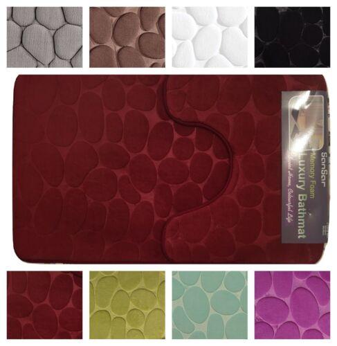 Pebble design 2pcs bath mat set rubber back memory foam machine washable