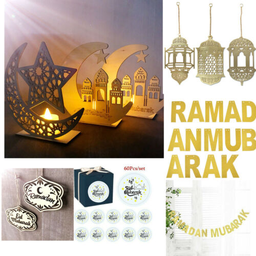 Islam Eid Ramadan Mubarak Hollow Decoration Wooden Lantern DIY Home Decoration