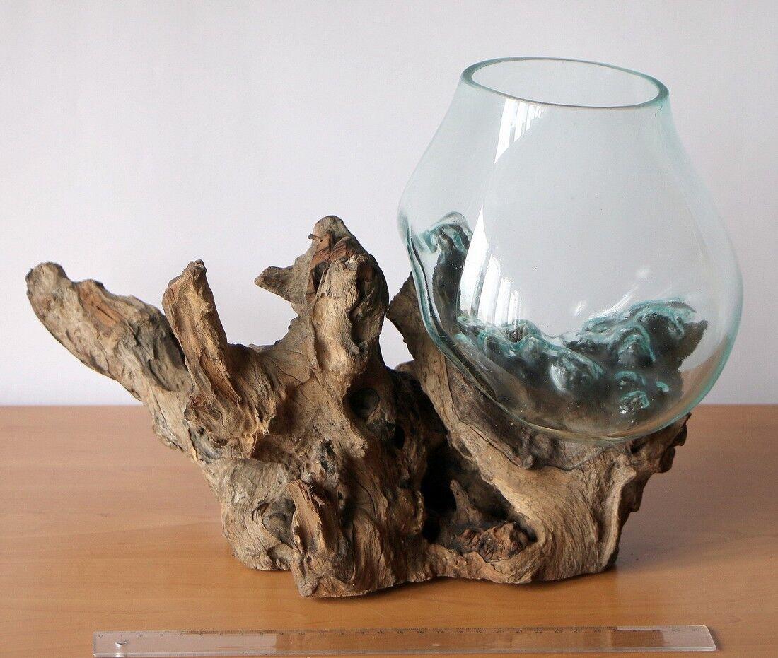 Deko Gamal Wurzelholz B-Ware Glasvase Ø Glas 18-20 cm Teakholz Holz Vase Glas L