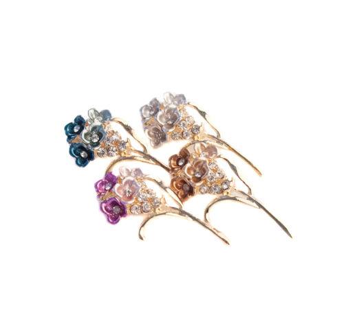 Fleur strass boucles Pack de 10 4colour LIVRAISON GRATUITE MODE BROCHE MARIAGE