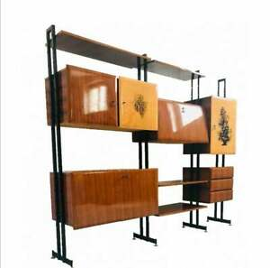 Meuble D Entree Scandinave En Bois Des Annees 60 Bibliotheque D Antiquites Mode Ebay