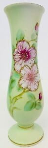 Vintage UCAGCO China Japan Vase Handpainted Green With Pink Flowers Beaded Paint