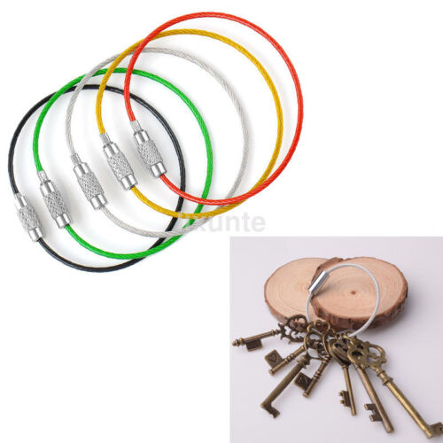 5PCS Multiuse Stainless Steel Wire Rope Keychain Cable Screw Clasp Keyring Hot