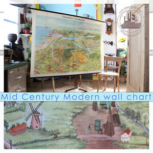 GEOGRAPHY FUNDAMEN. TERMS VINTAGE MID CENTURY MODERN WALL CHART TABLEAU PANTON È