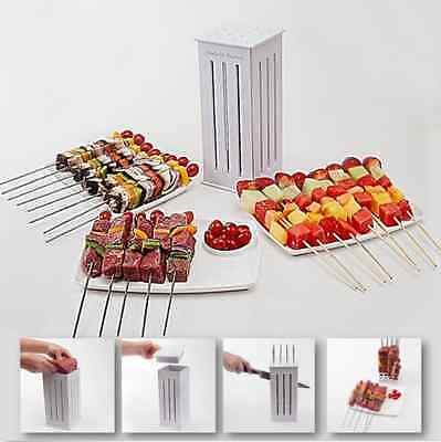 Brochette Food Slicer BBQ Grill Shish Kabab Maker with 32 Bamboo Skewers