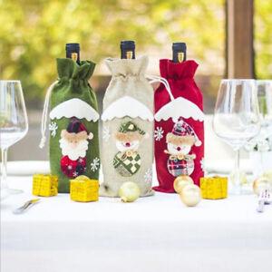 Eg-Noel-Diner-Table-Decor-Pere-Bonhomme-de-Neige-Vin-Bouteille-Sac-Housse