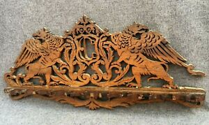 Antique black forest pipe holder rack early 1900's Germany woodwork chimeras