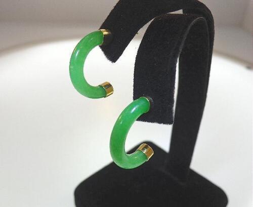 4X14mm Crescent Vert Jade or jaune plaqué sur 925 Ster Argent Clous D/'Oreilles