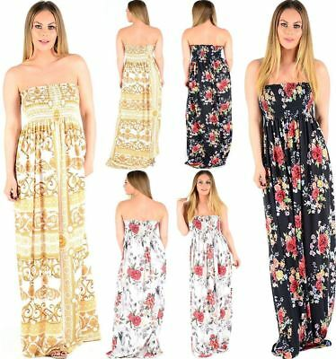 Generous Ladies Floral Strapless Maxi Fancy Dress Sheering Boob Tube Bandeau Plus Size Women's Clothing