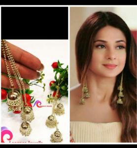 Indian-Traditional-Bollywood-Gold-Tone-Oxidized-Mugal-Jhumka-Jhumki-Earrings-M-3