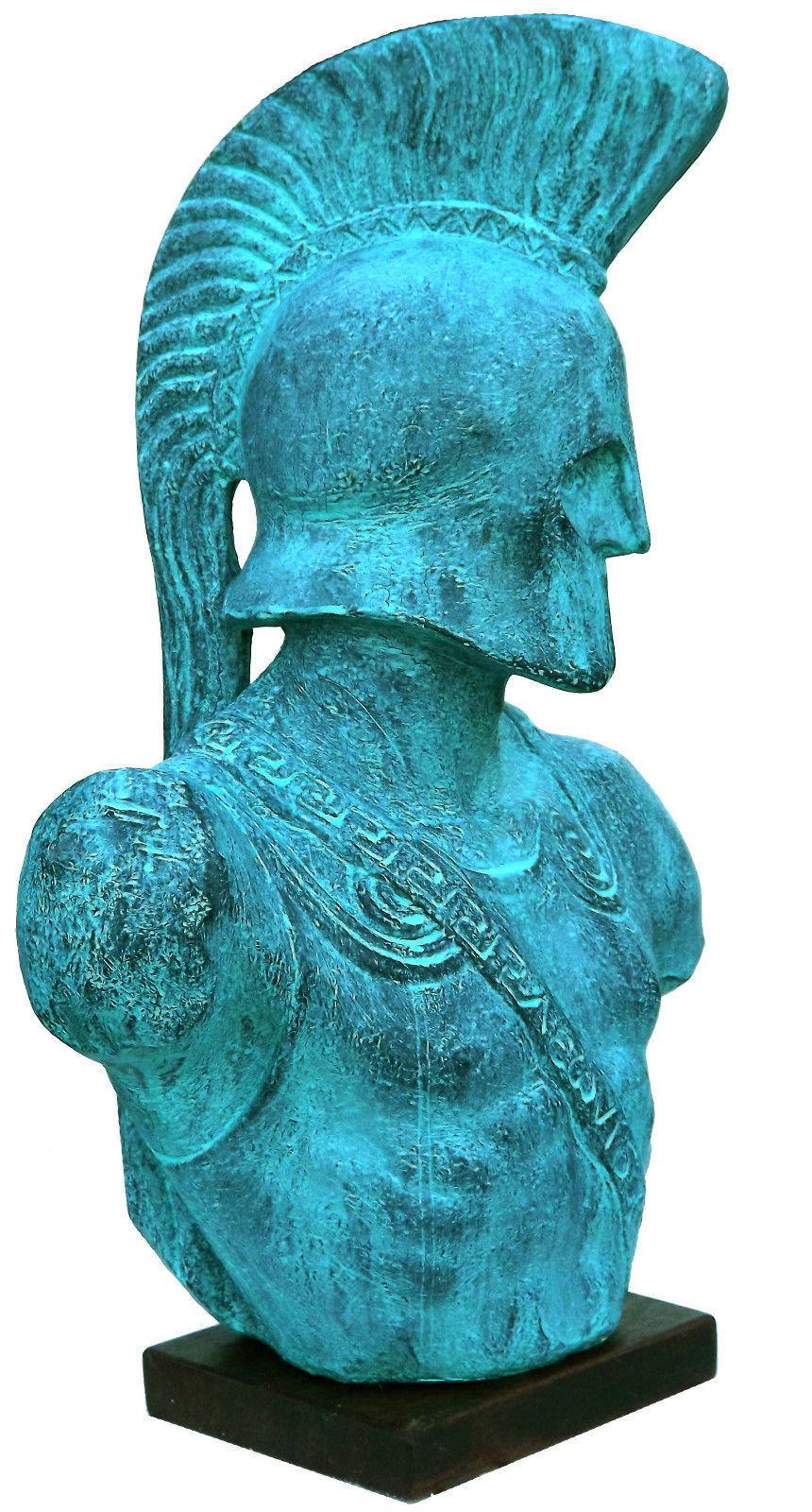 Spartan Rey Leonidas 3 d Escultura Griega Busto Estatua 38x26x13 cm pátina acabado.