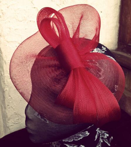 dark red maroon fascinator millinery burlesque wedding hat ascot race bridal
