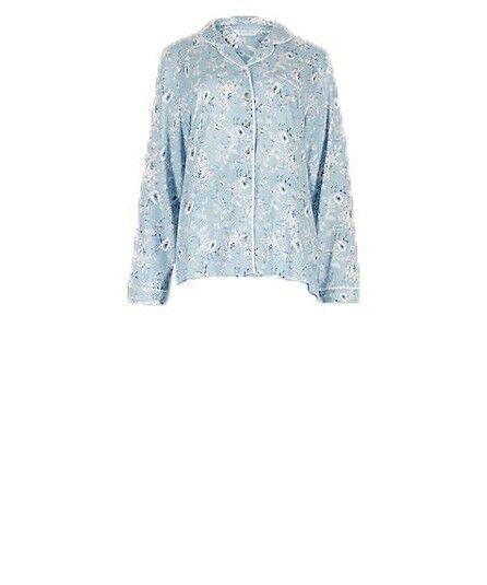 Ex Marks And Spencer Modal Blend Floral Long Sleeve Pyjama Top Size 10 (p114.14)