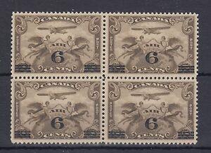 C3 airmail 6c on 5c overprint BLOCK of 4 Cat $160 VF MNH Canada mint