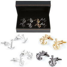 Anchors 4 Assorted Colors & Styles 4 Pairs of Cufflinks Wedding Fancy Gift Box