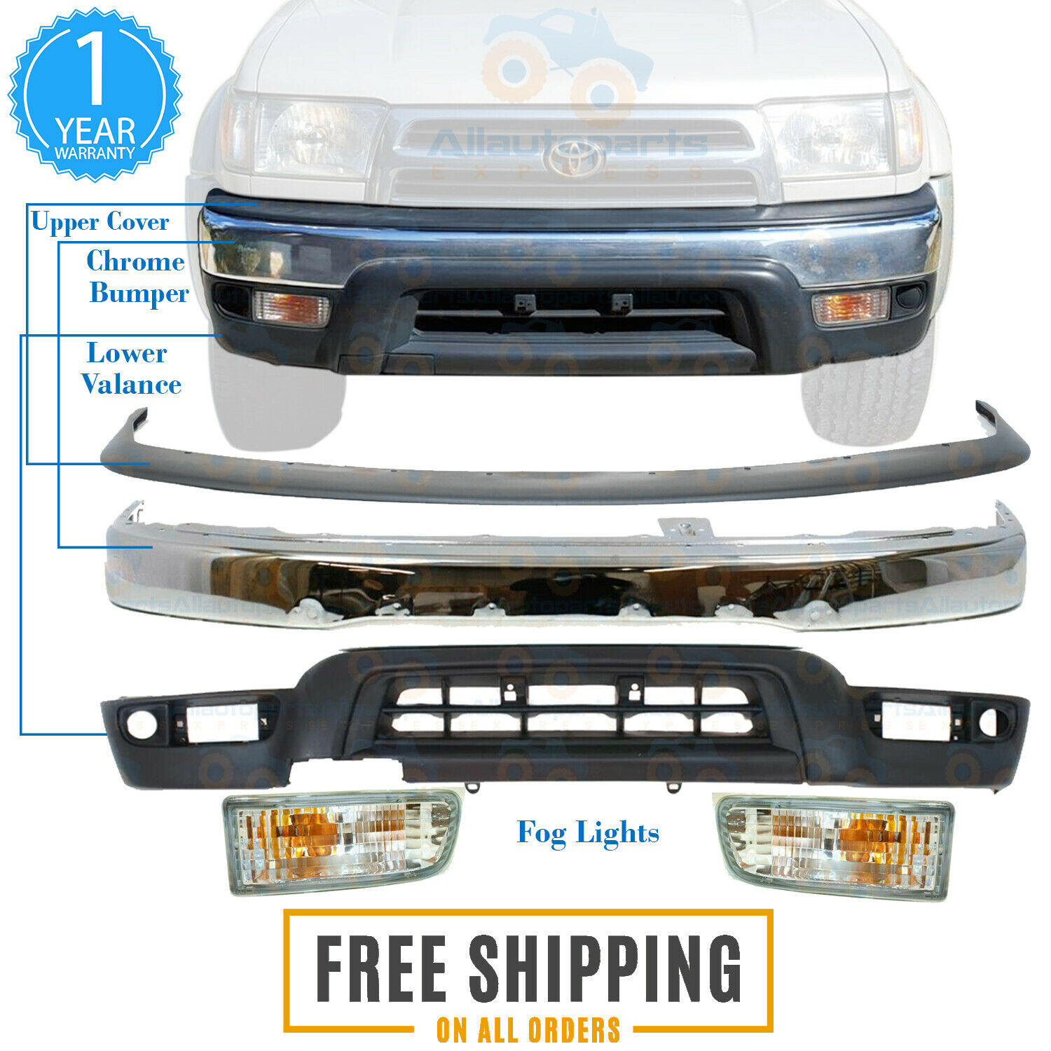 Front Bumper Chrome Filler Valance Fog Lights For 1999 2002 Toyota 4runner 5pc Ebay