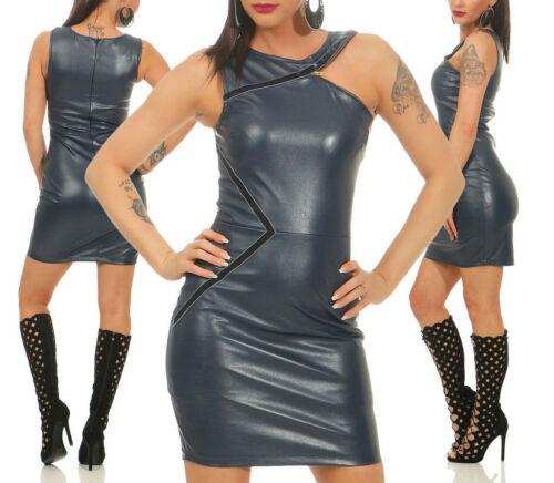 Tara Wera Damen Kleid Minikleid Bodycon-Kleid Lederlook Kunstlederkleid 36-42