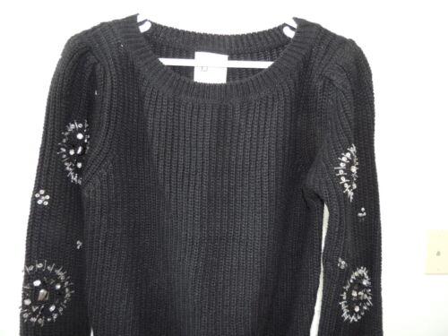 Line T8 Jeweled Embellished Small Dot Nwt Sz Wool Womens Maglione Black qZvEXx