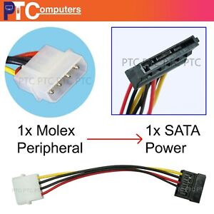 Molex IDE 4 Pin Male to 15 Pin SATA Female Power Adapter Extension HDD Cable