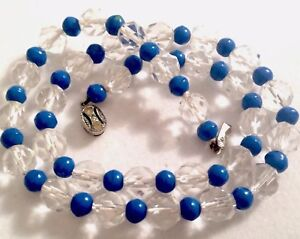 VINTAGE FACETED ROCK CRYSTAL & BLUE GLASS BEAD NECKLACE Gift Boxed