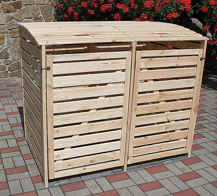 PROMADINO Mülltonnenbox VARIO III Müllbox für 2 Mülltonnen NATUR 324 11