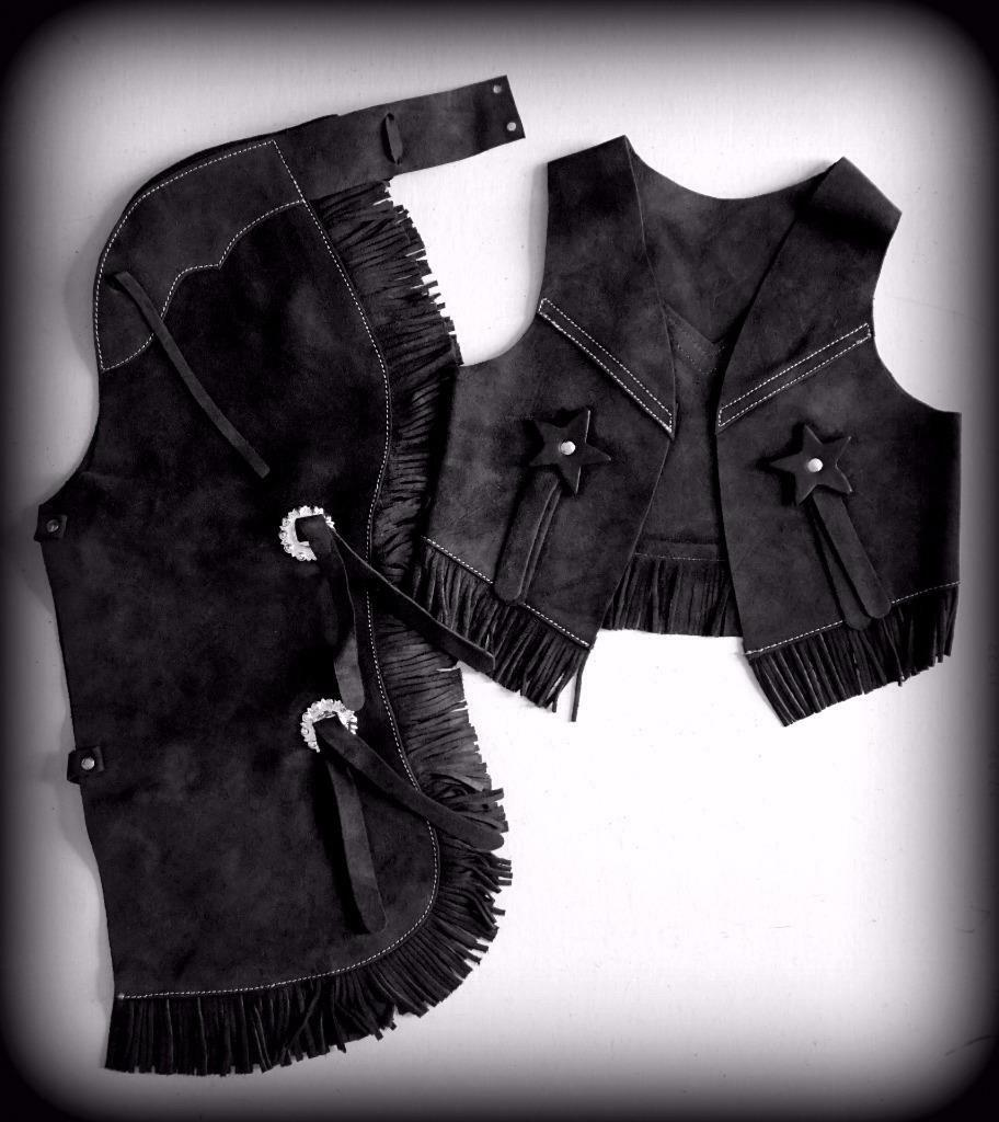 Prem black Cuir Daim Costume Cowboy Western Enfants Ados Gilet & Chaps S M M Lg
