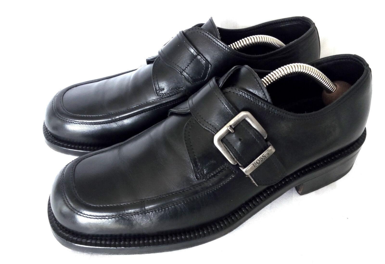 HUGO BOSS Monk Strap Business Loafer Apron Toe Schwarz Leder 8.5 Gr. 43 TOP