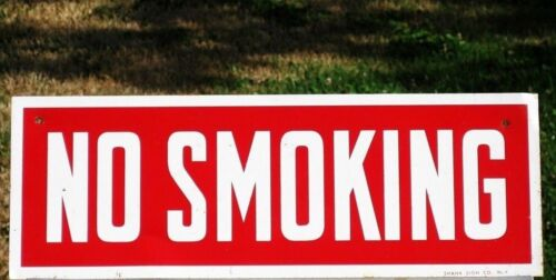 Vintage  ~ NO SMOKING ~ Tin Wall SIGN by Shank Sign Co NY Gas Station Restaurant