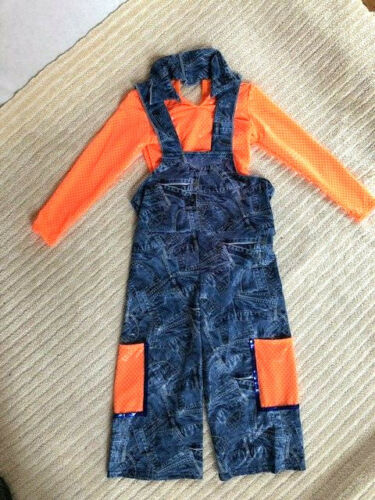 Details about  /Orange /& Denim Lycra Youth Overalls Character Dance Costume