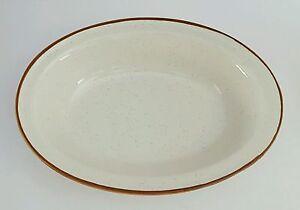 Bonsai Collection Stoneware Japan Oval Serving Bowl Brown Rim Speckled Vintage