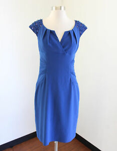 Adrianna-Papell-Blue-Beaded-Cap-Sleeve-Ruched-Cocktail-Evening-Dress-Size-6