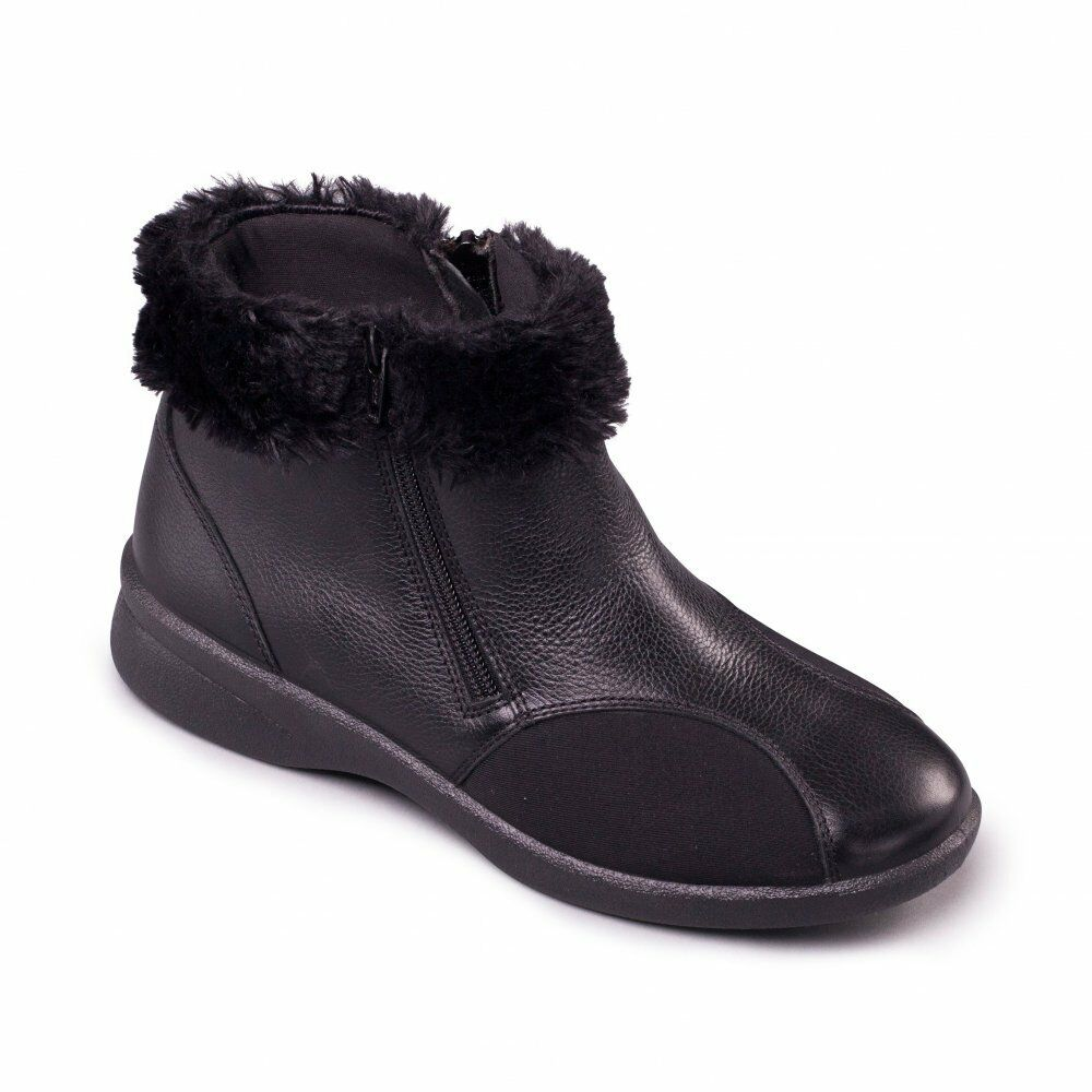 Padders ADELE Ladies Womens Leather Zip Up Extra Wide Fit (3E/4E) Boots Black