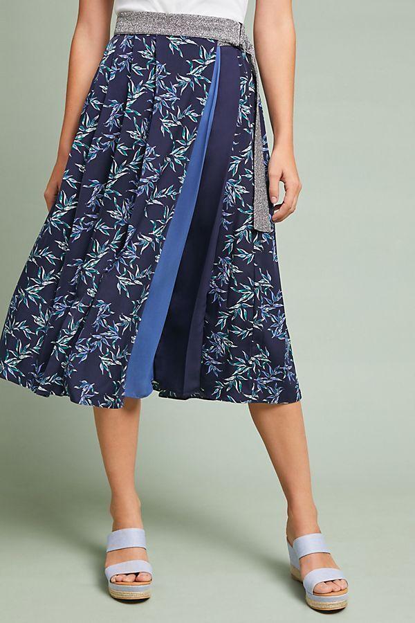 NWT Anthropologie bluee Shimmer Printed Midi Skirt Pleated Eri + Ali  Sz XL