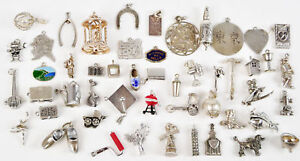 Vintage-Sterling-Silver-Charm-Bracelet-Charms-Moving-Moveable-LOT-Beau-Wells-Fan