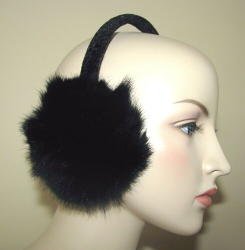 NEW BLACK GENUINE FOX FUR//HAIR EAR MUFFS//WARMER+BLACK VELVET HEAD BAND