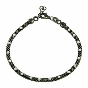 Sterling-Silver-925-Black-Rhodium-Plated-Bracelet-With-White-Diamond