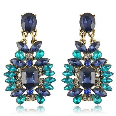 Fashion Women Blue Crystal Flower Rhinestone Ear Stud Earring Wedding Jewelry