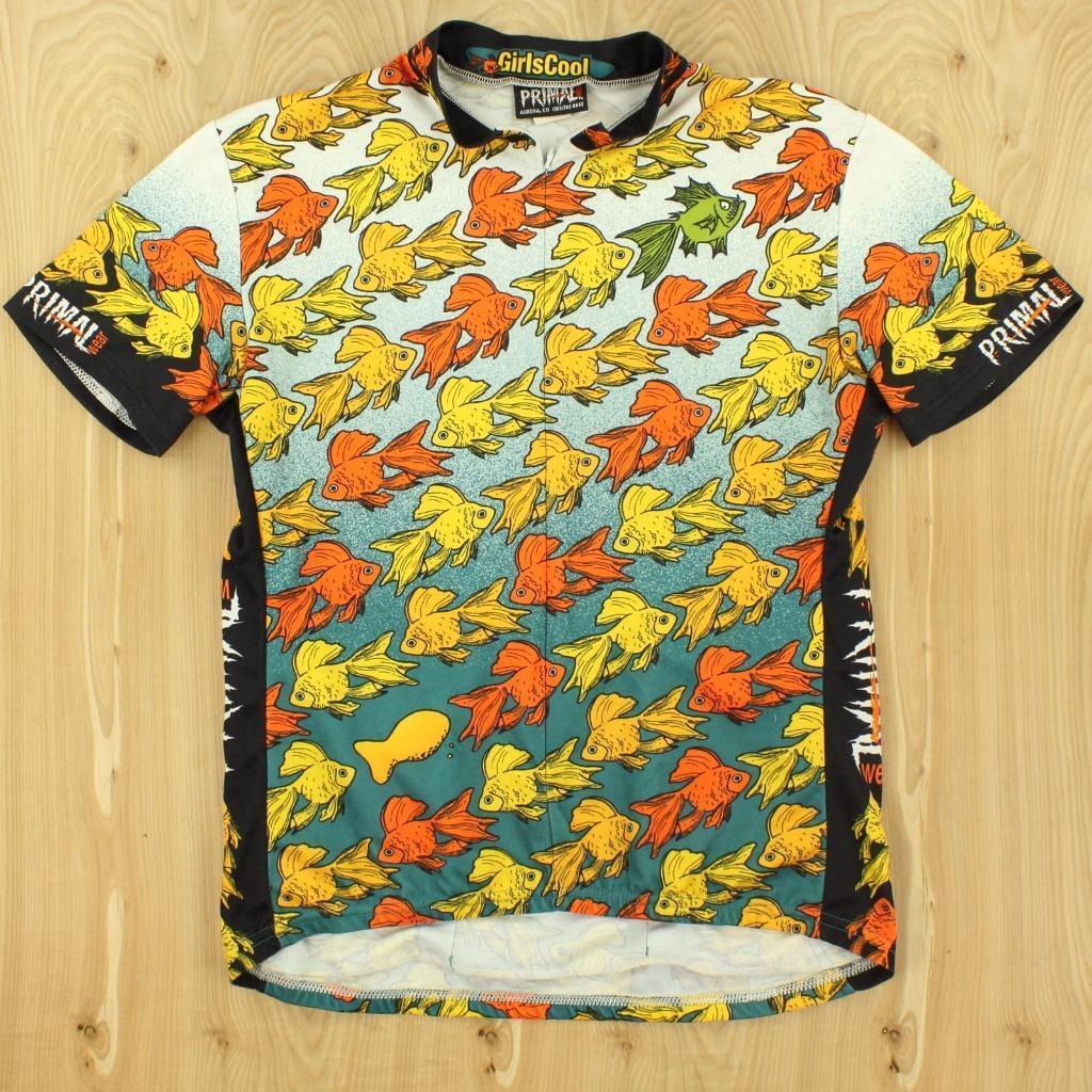Usa made PRIMAL WEAR fish print cycling jersey XL shirt girlscool