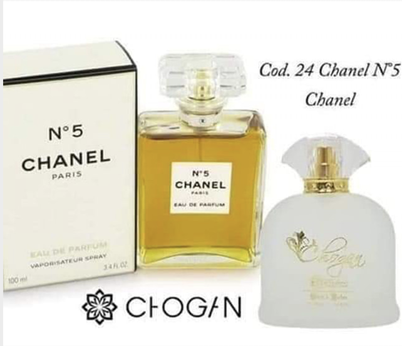 profumi: CHOGAN: PROFUMO DONNA ISPIRATO A CHANEL N. 5 BY CHANEL – 100 ML (024)