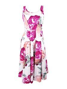 dcc0e52c8bc77 Details about Calvin Klein Women s Cotton Floral-Print Fit   Flare Dress
