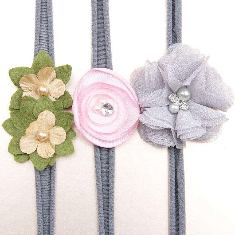 3Pcs/lot Newborn Girl Baby Headband Ribbon Elastic Headdress Kids Hair Band Bow 8