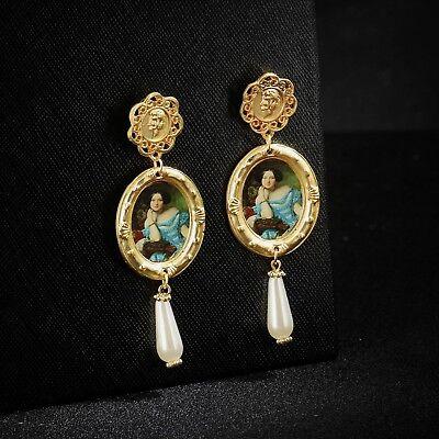 Boucles d/'oreilles Chandelier Perle Ethnique Jaune Retro Baroque XX29