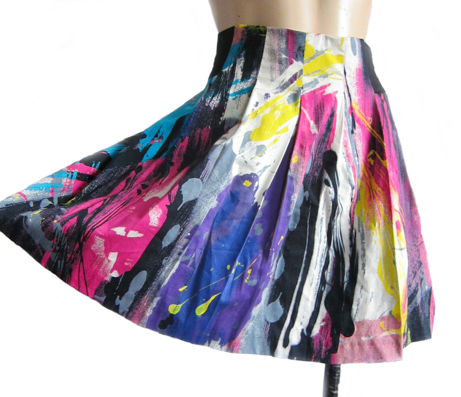Multicolord elasticated RIVER ISLAND mini-skirt, UK size 8 10 fully lined new