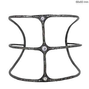 Sapphire-Gemstone-925-Silver-Studded-2-93ct-Diamond-Cuff-Bangle-Handmade-Jewelry