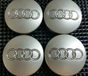 4-Pcs-of-Wheel-Center-Hubcap-Audi-Gray-60MM-Chrome-Logo