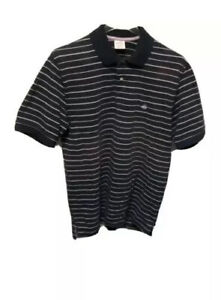 Brooks-Brothers-Mens-Polo-Shirt-Blue-Striped-100-Cotton-Short-Sleeve-Collared-L