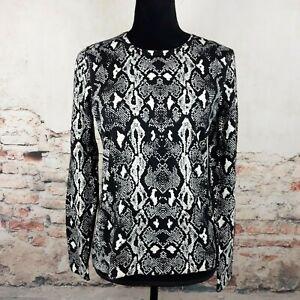 NWOT-J-Mclaughlin-Sz-M-Black-White-Snake-Print-Cotton-Blend-Knit-Long-Sleeve-Top