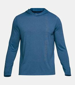 68c9fd63 Details about Under Armour Men's Moroccan Blue UA Threadborne Siro Long  Sleeve Hooded Shirt
