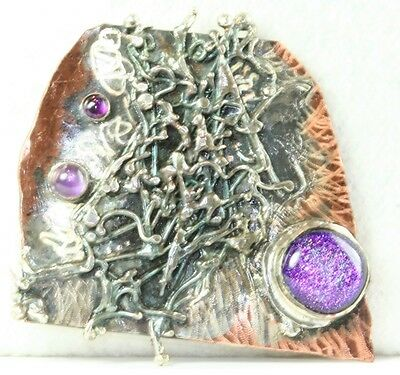 VTG HAND WROUGHT STERLING SILVER AMETHYST COPPER MODERIST PIN CATHY MCLAIN