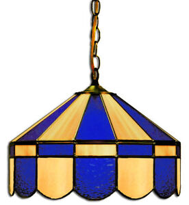 Details About Beige And Blue 16 Stained Glass Hanging Light Fixture Home Bar Pub Table Lamp
